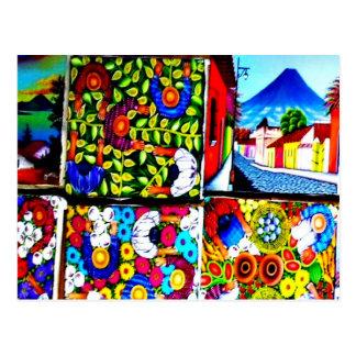 グアテマラのマヤの民間伝承の壁の郵便はがき ポストカード