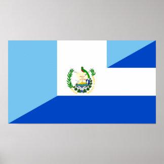 グアテマラエルサルバドルの半分の旗の国の記号 ポスター