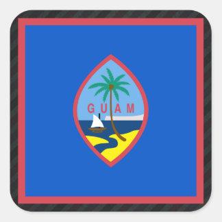 グアムの公式の旗はの縞で飾ります スクエアシール