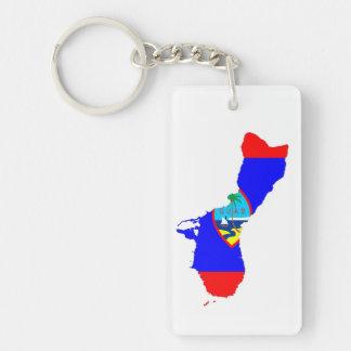 グアムの国旗の地図の形のシルエット キーホルダー