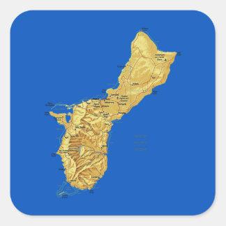 グアムの地図のステッカー スクエアシール