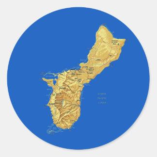 グアムの地図のステッカー ラウンドシール