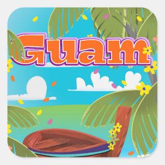グアムの島の休日旅行ポスター スクエアシール