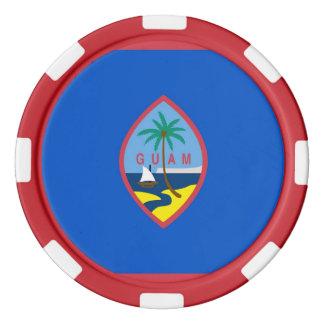 グアムの旗が付いている愛国心が強いポーカー用のチップ カジノチップ