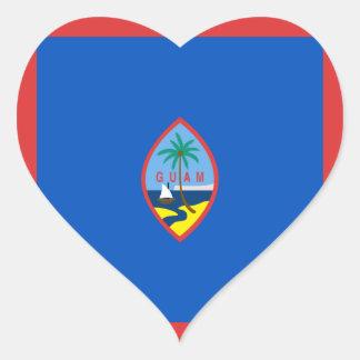 グアムの旗のハートのステッカー ハートシール
