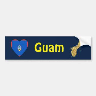 グアムの旗のハート + 地図のバンパーステッカー バンパーステッカー