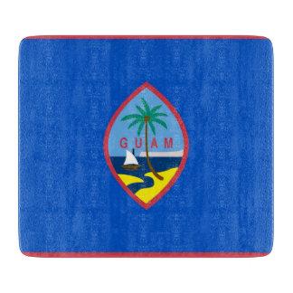 グアムの旗を持つ小さいガラスまな板 カッティングボード
