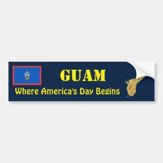 グアムの旗 + 地図のバンパーステッカー バンパーステッカー