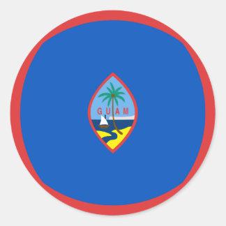 グアムFisheyeの旗のステッカー ラウンドシール