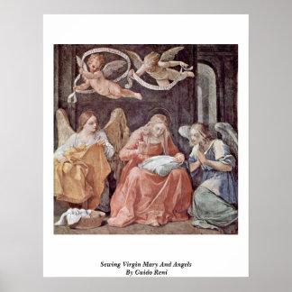 グイド・レーニ著縫う聖母マリアそして天使 ポスター