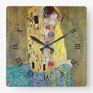 グスタフのクリムトによるキス(元のDer Kuss) スクエア壁時計