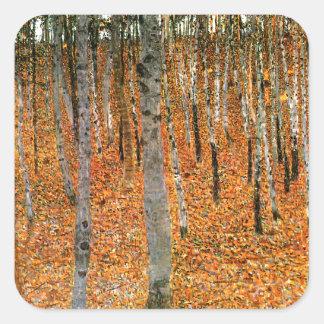 グスタフのクリムトによるブナの森林 スクエアシール