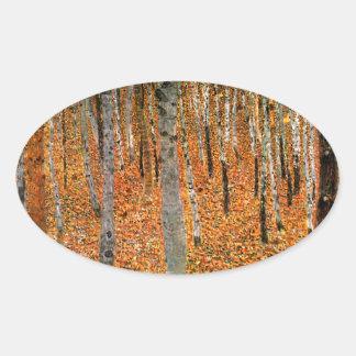 グスタフのクリムトによるブナの森林 楕円形シール