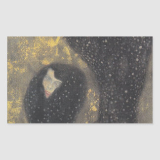 グスタフのクリムトによる水の精(しみ) 長方形シール