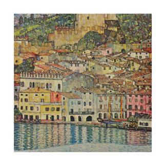 グスタフのクリムトによる湖GardaのMalcesine ウッドウォールアート
