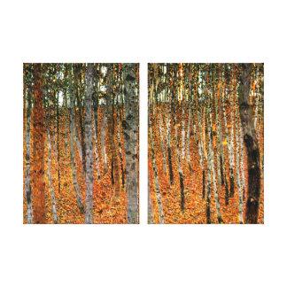 グスタフのクリムトのファインアートの倍のパネルによるブナの森林 キャンバスプリント