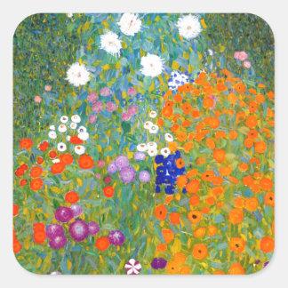 グスタフのクリムトのヴィンテージの花柄による花園 スクエアシール
