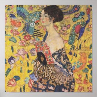 グスタフのクリムトの女性With Fan Poster ポスター