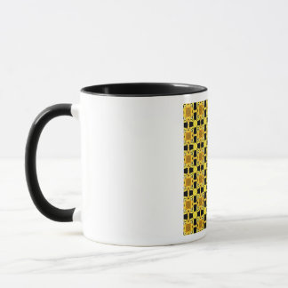 グスタフのクリムトキスパターン黄色の黒の金ゴールド マグカップ