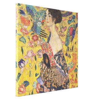 グスタフのクリムト-ファンを持つ女性 キャンバスプリント