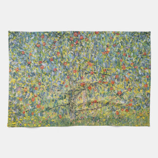 グスタフのクリムト、ヴィンテージアールヌーボーによるりんごの木 キッチンタオル