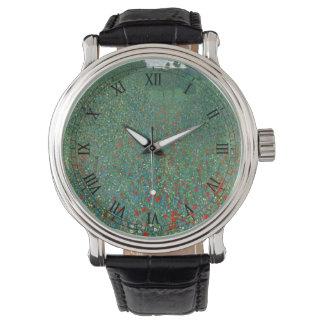 グスタフのクリムト、ヴィンテージアールヌーボーによるケシ分野 腕時計