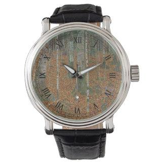 グスタフのクリムト、ヴィンテージアールヌーボーによる樺の木の森林 腕時計