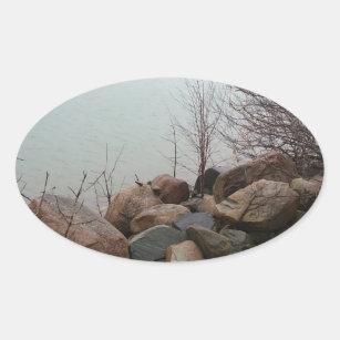 グラインダー都市秋の秋の海岸線の砂岩 楕円形シール