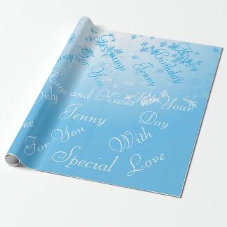 グラデーションで青い紙吹雪は白い名前入り葉が出ます ラッピングペーパー
