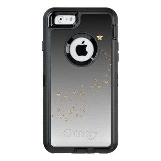 グラデーションで黒い灰色の金ゴールドの星の願いの流星 オッターボックスディフェンダーiPhoneケース