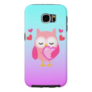 グラデーションなかわいいフクロウ愛ハートのピンクの紫色のターコイズ SAMSUNG GALAXY S6 ケース