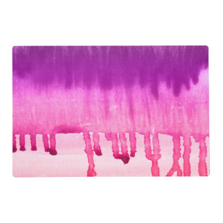 グラデーションなコンテンポラリーなピンクの紫色の水彩画 ラミネート ランチョンマット