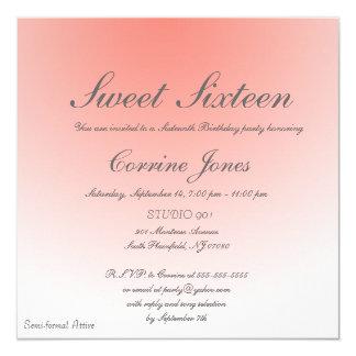 グラデーションなスタイルのSweet sixteenの誕生日の招待状 カード