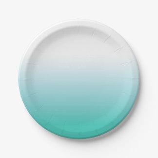 グラデーションなターコイズの紙皿 ペーパープレート
