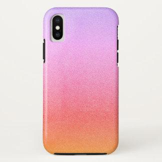 グラデーションなピンクのシャーベットのグリッターの砂の視覚質 iPhone X ケース