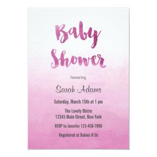 グラデーションなピンクの水彩画のベビーシャワーの招待状 カード