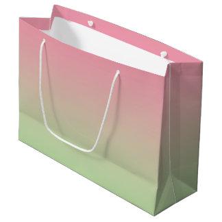 グラデーションなピンク及び緑 ラージペーパーバッグ