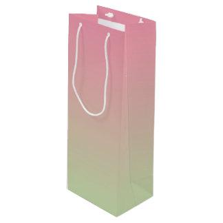グラデーションなピンク及び緑 ワインギフトバッグ