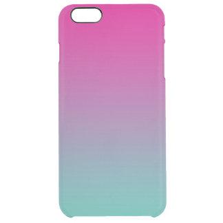 グラデーションなマゼンタの紫色及びティール(緑がかった色) クリア iPhone 6 PLUSケース