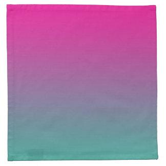 グラデーションなマゼンタの紫色及びティール(緑がかった色) ナプキンクロス