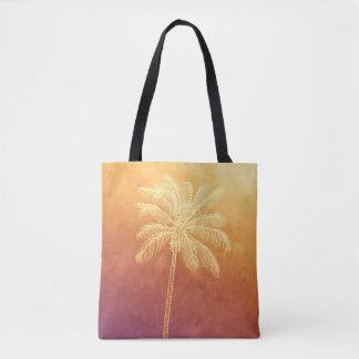 グラデーションなヤシの木のシルエットの熱帯日没 トートバッグ