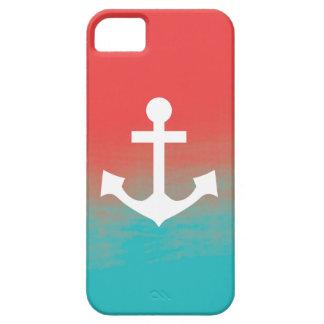 グラデーションな水彩画の質のいかり-ティール(緑がかった色)および珊瑚 iPhone SE/5/5s ケース