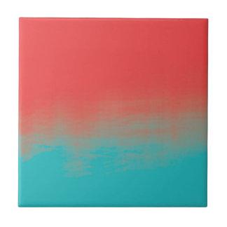 グラデーションな水彩画の質-ティール(緑がかった色)および珊瑚 タイル