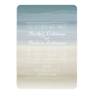 グラデーションな海岸のビーチ結婚式 カード