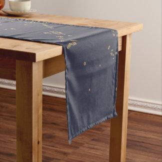 グラデーションな濃紺の金ゴールドのきらめくグリッター ショートテーブルランナー