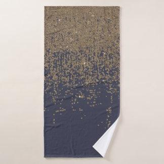 グラデーションな濃紺の金ゴールドのきらめくグリッター バスタオル