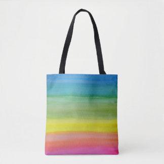 グラデーションな虹の水彩画のプリントのトート トートバッグ