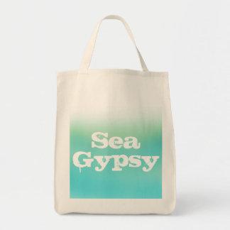 グラデーションな買い物袋ティール(緑がかった色)は海のジプシーの衰退します トートバッグ