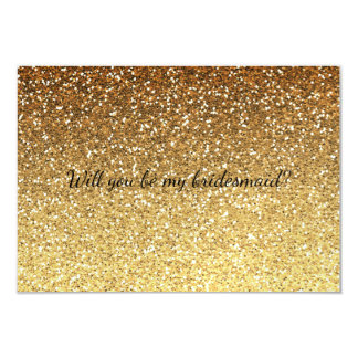 グラデーションな金ゴールドの魅力的で模造のなグリッターは私の新婦付添人です カード
