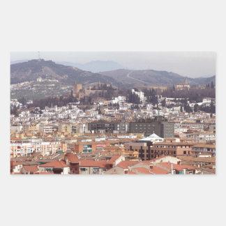グラナダの建物スペイン 長方形シール